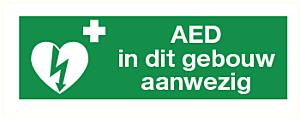 """AED-pictogram op sticker """"AED in dit gebouw aanwezig"""""""