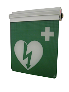 AED-pictogram op bord met LED-verlichting