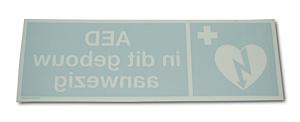 """AED-pictogram op sticker """"AED in dit gebouw aanwezig"""" reverse"""