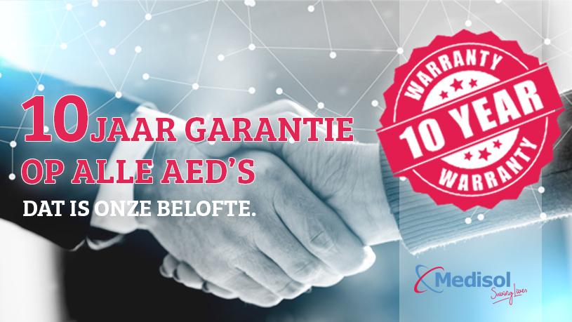 10 jaar garantie bij aanschaf van iedere AED bij AEDwinkel.nl